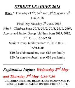 Street Leagues registration